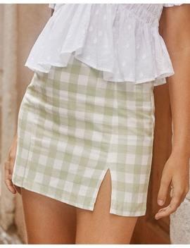 Gingham Print Mini Skirt by Glassons