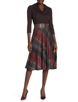 Plaid Skirt Belted Cowl Neck Midi Dress by Robbie Bee