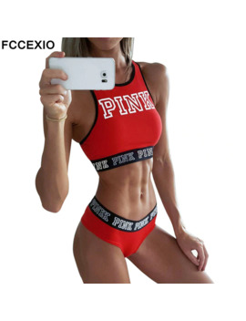 Fccexio 2019 New Sexy Women Tank Tops Quick Dry Tight Fitness Sleeveless Love Pink Letter Print Singlet Exercise Workout T Shirt by Ali Express.Com