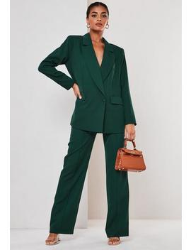 Green Co Ord Wrap Front Oversized Blazer by Missguided