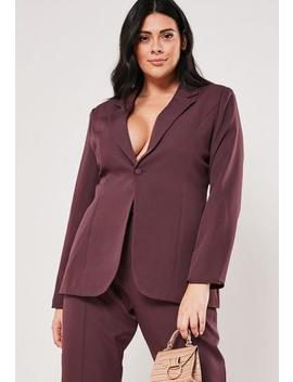 Plus Size Purple Co Ord Skinny Classic Blazer by Missguided