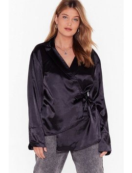 Sleek The Truth Plus Satin Blouse by Nasty Gal