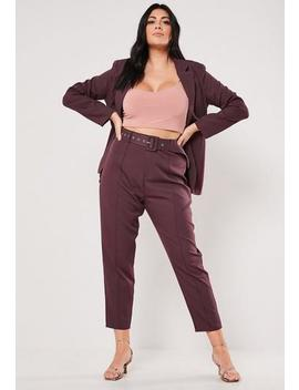 Plus Size Purple Co Ord Cigarette Trousers by Missguided