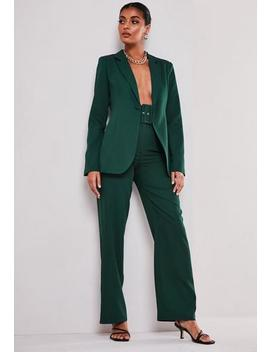 Petite Green Co Ord Belted Trousers by Missguided