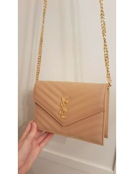 Ysl Yves Saint Laurent Monogram Envelope Wallet On Chain Bag Taupe Nude Leather by Ebay Seller