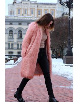 Pink Peach Long Faux Fur Coat/ Maxi Fake Fur Coat/ Vegan Fur Jacket/ Burning Man Coat/ Playa Coat/ Festival Boho Coat/ Blush Shaggy Jacket/ by Etsy