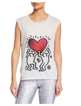 Terez X Keith Haring Printed Cap Sleeve Tee by Terez