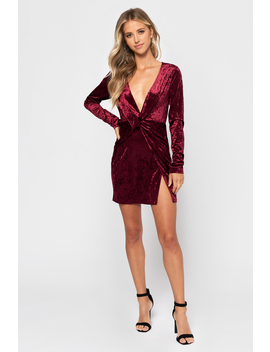 Velvet Snow Wine Bodycon Dress by Tobi