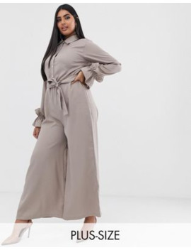 Verona Curve Long Sleeved Jumpsuit In Stone by Asos