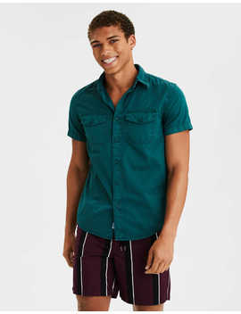 Ae Short Sleeve Twill Button Up Shirt by American Eagle Outfitters