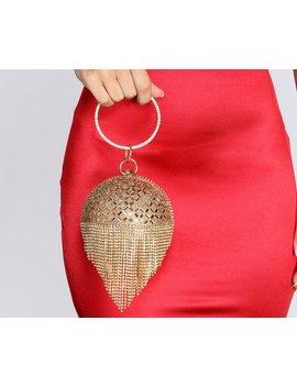 Rhinestone Fringe Sphere Clutch by Windsor