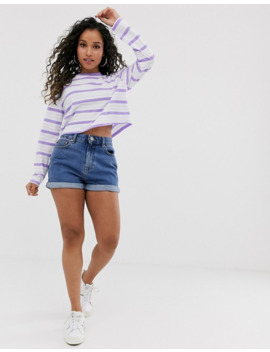 Asos Design Petite Crop Boxy T Shirt With Long Sleeve In Stripe by Asos Design