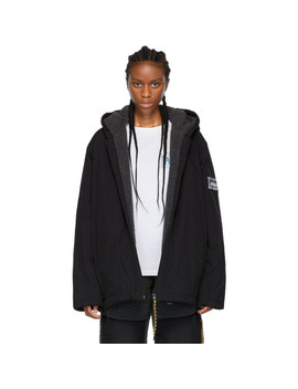 Reversible Black Plain Fleece Parka Jacket by Aries