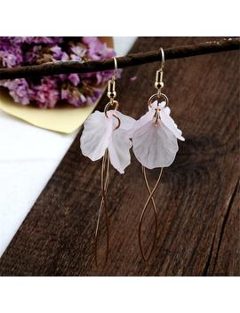 Korean White Petal Acrylic Earrings Long Statement S Shape Metal Rod Tassel Earrings For Women Fashion Jewelry Gifts by D Hgate.Com