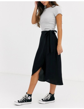 New Look Petite Wrap Midi Skirt In Black by New Look