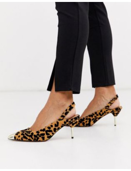 Asos Design Sascha Slingback Kitten Heels In Leopard by Asos Design