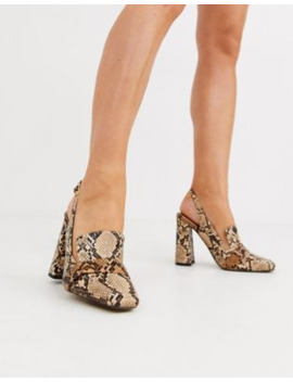 Asos Design Peggy Square Toe Heeled Loafers In Snake by Asos Design