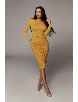 Mustard Blythe Ruched Body Dress by Jluxlabel