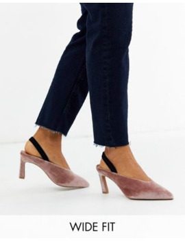 Asos Design Wide Fit Wishful Mid Heels In Blush Velvet by Asos Design
