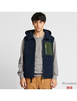 Men Windproof Pile Lined Fleece Full Zip Vest (Jw Anderson) by Uniqlo