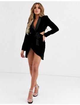 Asos Design Velvet Tux Mini Dress With Cut Outs by Asos Design