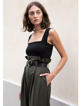 Uniform Green Paperbag Pants With Black Belt by The Frankie Shop