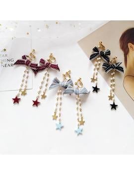 Lace Up Ribbon Bowknot Butterfly Tie Clip On Earrings Without Piercing Crytal Long Pearl Chain Star Clip Earring For Women by D Hgate.Com
