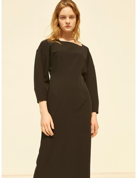 Square Neck Slim Dress Black by Mohan