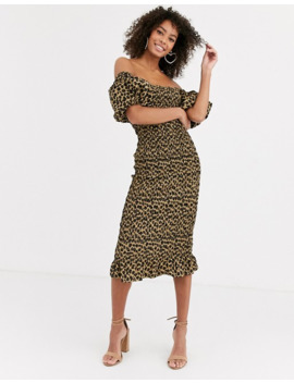 Never Fully Dressed Off Shoulder Blouson Sleeve Shirred Midi Dress In Leopard Print by Never Fully Dressed