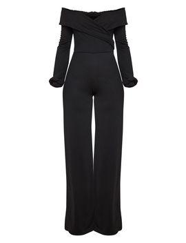 Black Long Sleeve Wrap Bardot Jumpsuit by Prettylittlething