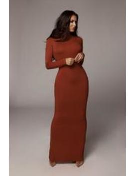 Rust Cheyanne Mock Neck Dress by Jluxlabel