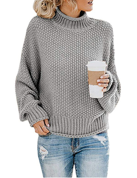 Women's Long Sleeve Sweaters Turtleneck Loose Soft Knitted Casual Pullover by Wodstyle Llc