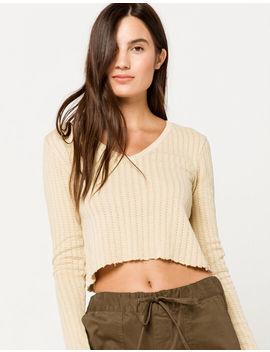 Full Tilt Pointelle V Neck Womens Crop Sweater by Full Tilt