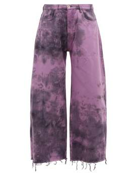Tie Dyed Wide Leg Jeans In Purple by Marques' Almeida