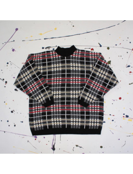 Plaid Knit Sweater by Vintage  ×