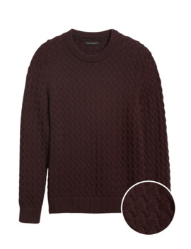 Supima® Cotton Cable Knit Sweater by Banana Repbulic