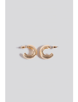 Wide Detailed Hoop Earrings Gold by Na Kd Accessories