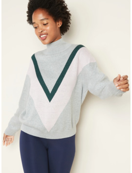 Color Blocked Chevron Turtleneck Sweater For Women by Old Navy
