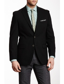 Black Solid Two Button Notch Lapel Blazer by Calvin Klein