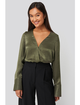 Wrap Satin Blouse Green by Na Kd