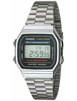 Casio Vintage Retro Digital Watch Stainless Steel Silver A168 W A168 Illuminator by Casio