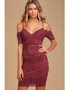 One More Kiss Wine Red Lace Cold Shoulder Bodycon Dress by Lulus