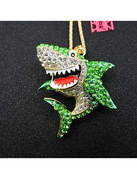 Betsey Johnson Enamel Green Crystal Cartoon Shark Pendant Sweater Necklace by Unbranded