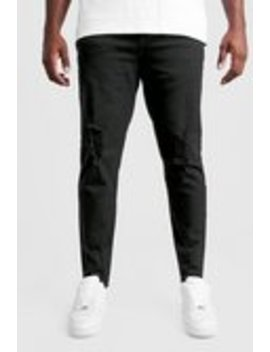 Big And Tall Skinny Jeans With Raw Hem by Boohoo Man
