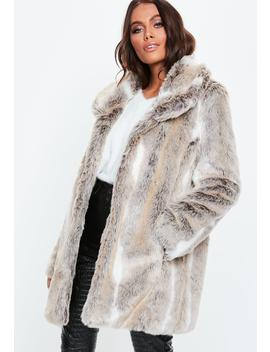 Petite Nude Shawl Collar Faux Fur Coat by Missguided