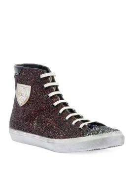 Saint Laurent Mens Bedford Solid Glitter High Top Sneakers by Saint Laurent