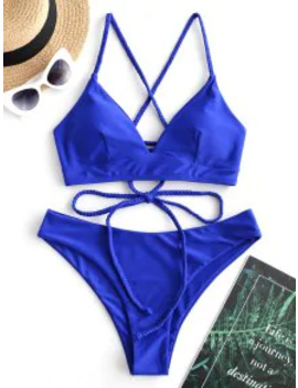 Popular Zaful Braided Lace Up Plain Bikini Swimsuit   Cobalt Blue L by Zaful