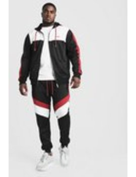 Big & Tall Tricot Tracksuit With Man Embroidery by Boohoo Man