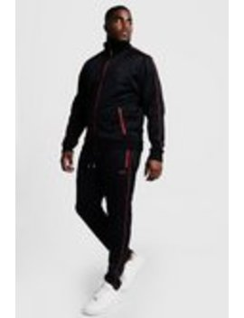 Big & Tall Tricot Tracksuit With Embroidery by Boohoo Man