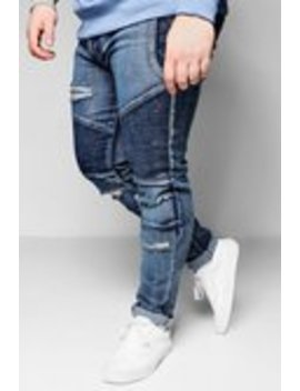 Big And Tall Blue Skinny Fit Ripped Biker Jeans by Boohoo Man